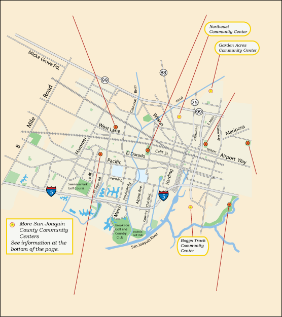 map of community centers in Stockton, CA