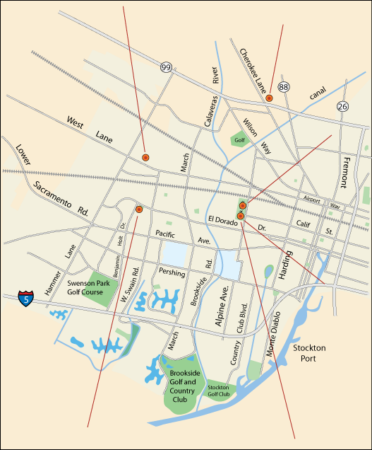 map of spectator sports venues in Stockton, CA